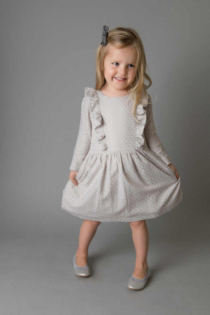 Love Henry - Girls Florence Dress - Grey/Gold Spot