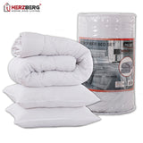 Herzberg HG-24267DP: White Microfiber Bedding Set(Duvet+2Pillows) - 240x200cm