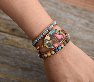 3 Layers Natural Stones Leather Bracelet