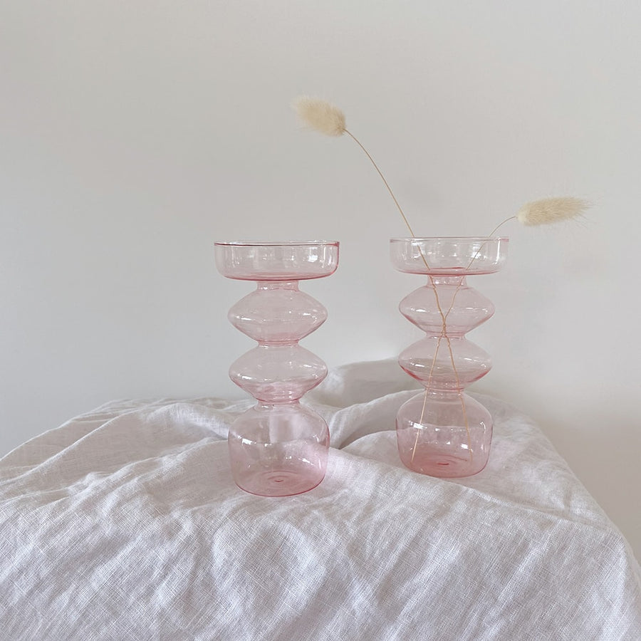 The Powder Pink Three Tiered Glass Vessel