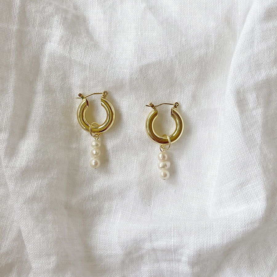 The Triple Pearl Exaggerated Hoop earring