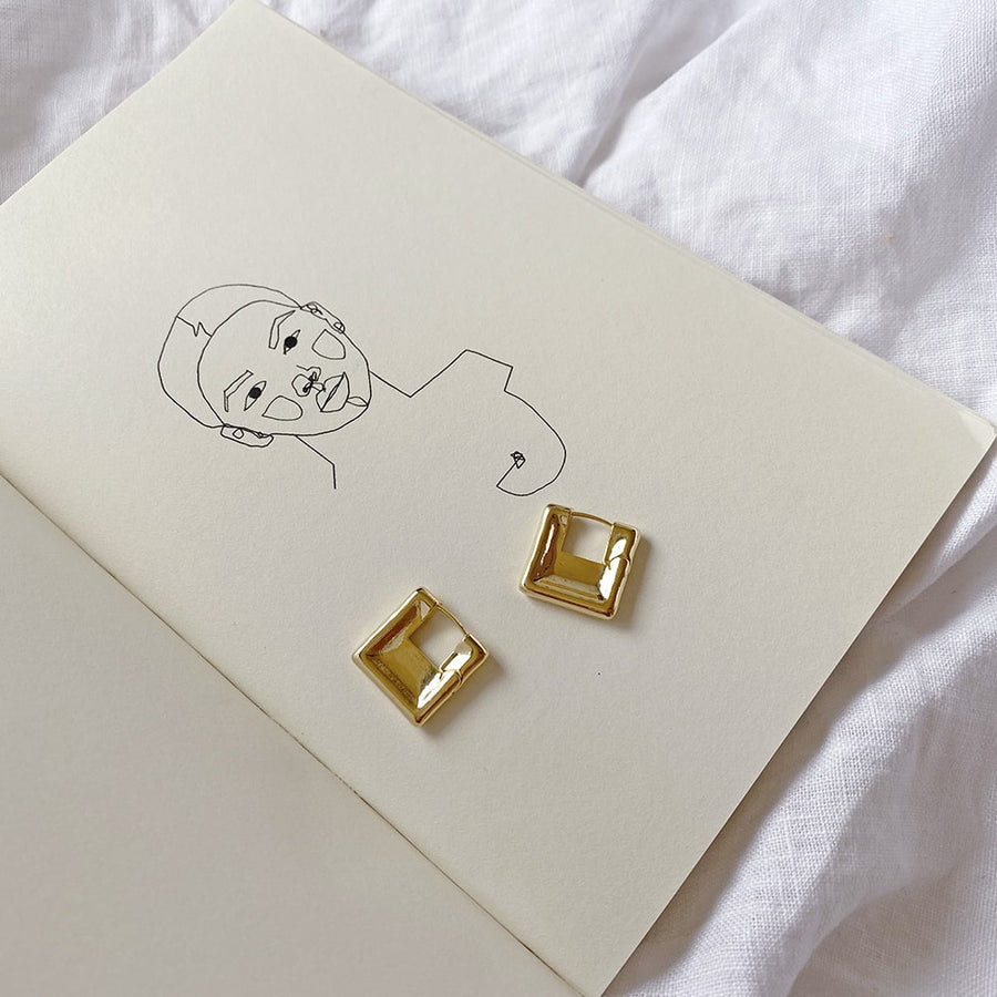 The Square Huggie earring