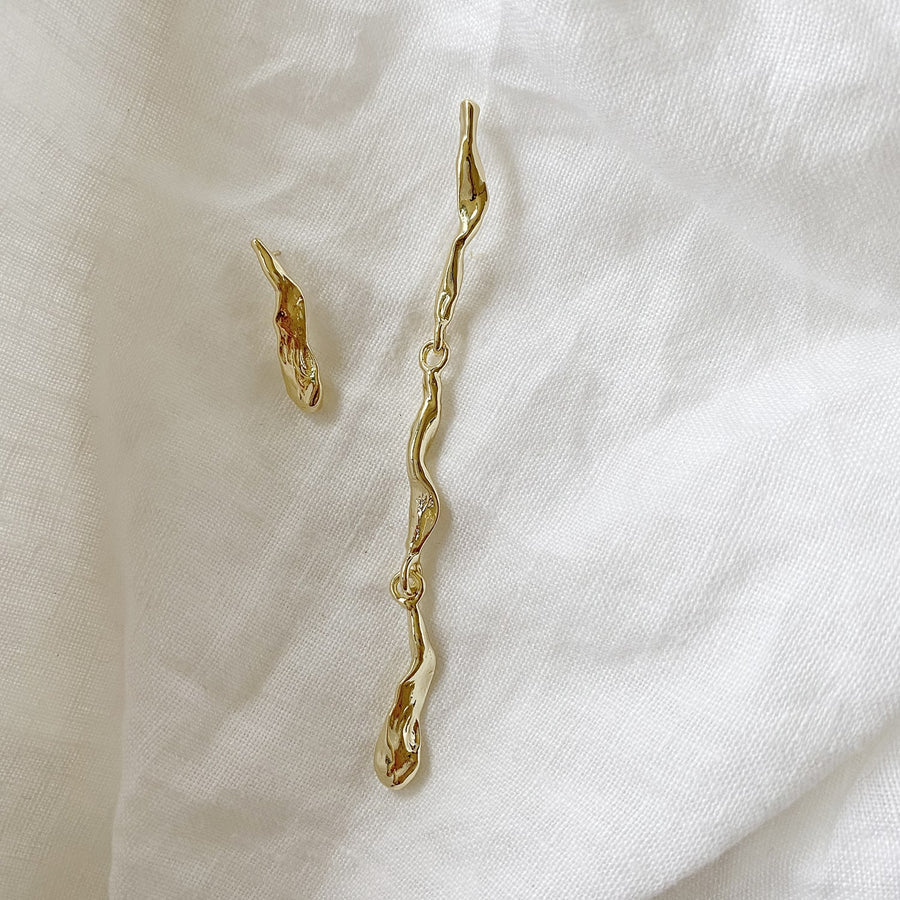 The Asymmetric Gold Drip Earring