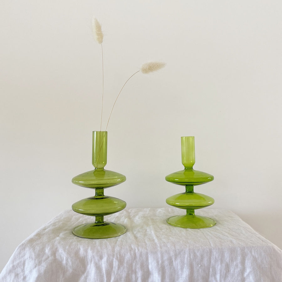 The Pistachio Double Tiered Glass Vessel