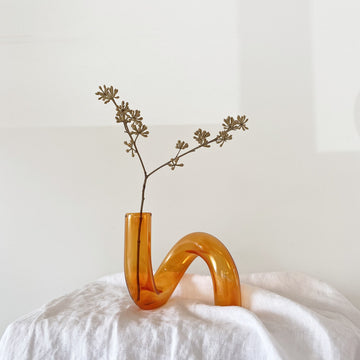 The Tangerine Squiggle Glass Vessel