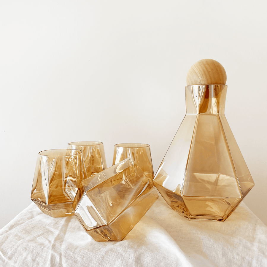 The Amber Carafe and Tumblers