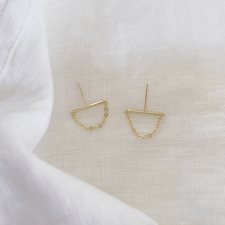 The Gold Bar and Chain Earring