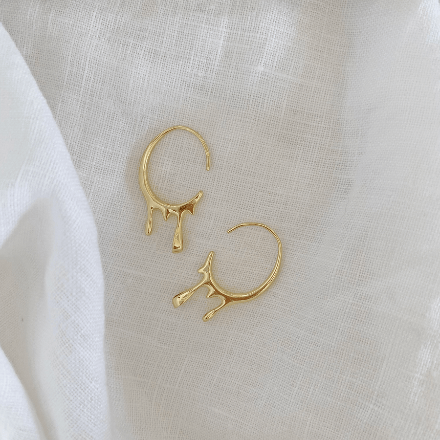 The Gold Drip Open Ended Hoop earring