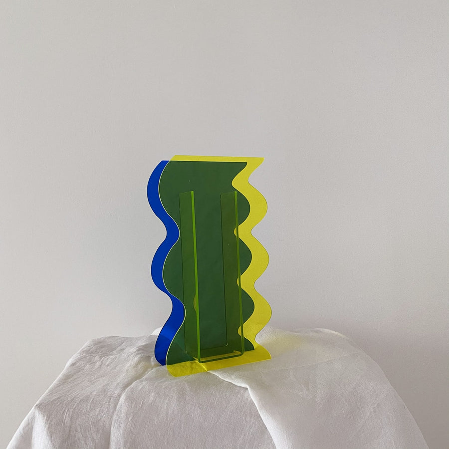 The Cobalt and Lemon Wave Resin Vessel