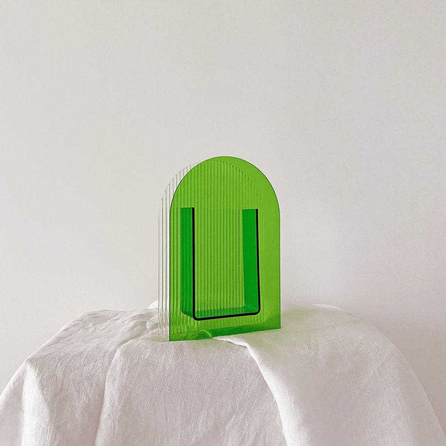 The Forest Green Arched Corrugated Resin Vessel