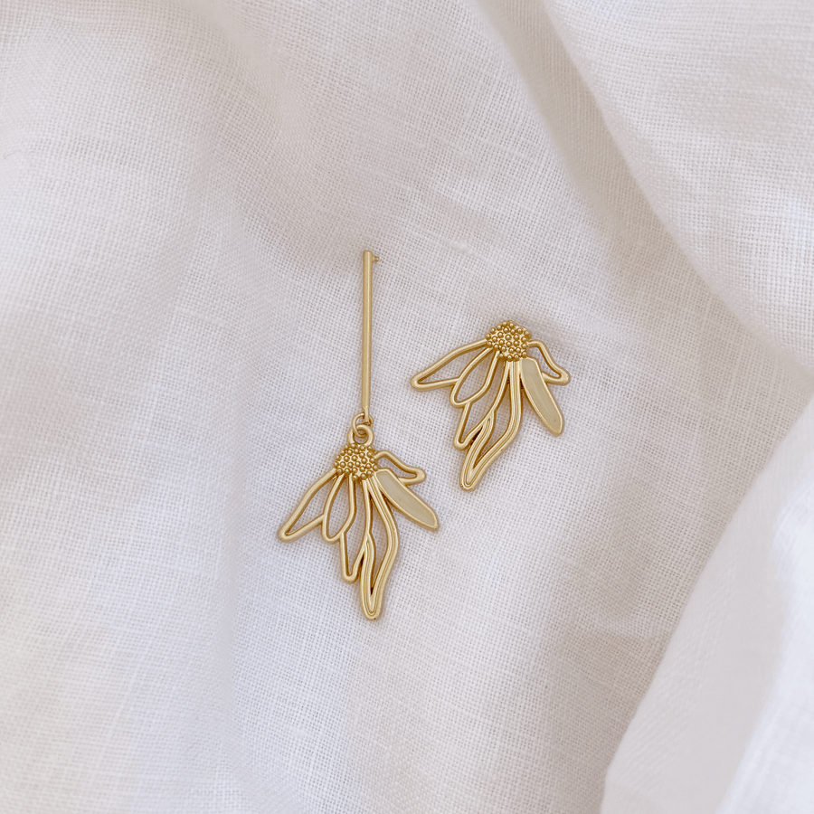 The Asymmetric Wilted Lotus Earring