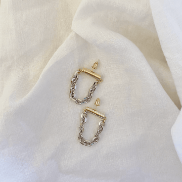 The Gold Bar and Silver Chain Earring