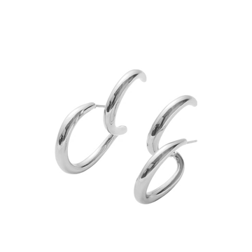 The Two in One Silver hoop earring
