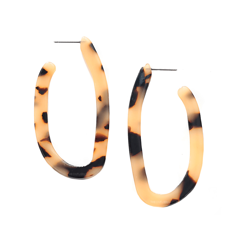 The Oblique Snow leopard earring