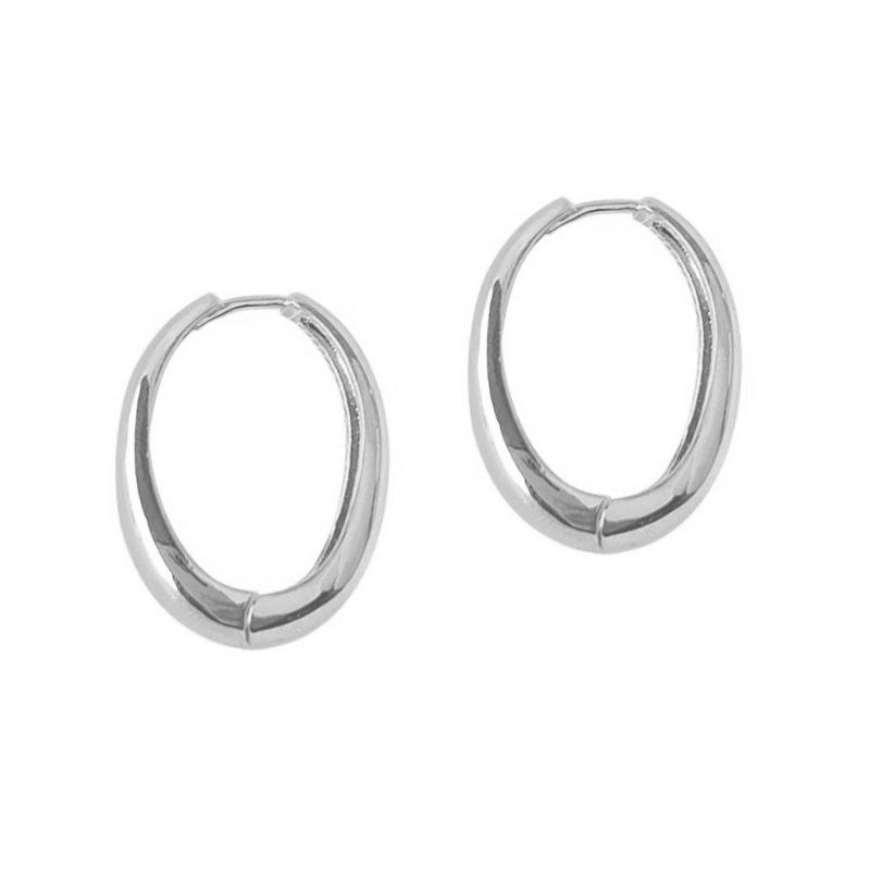 The Chunky Elongated Silver Hoop Earring