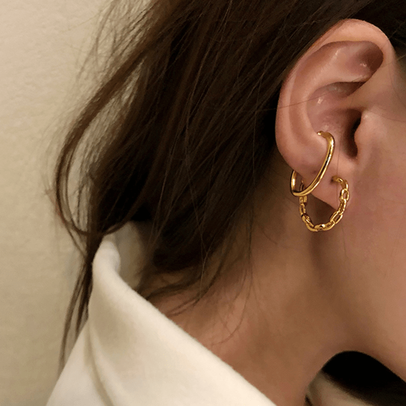 The Two in one Curb Hoop and Cuff earring
