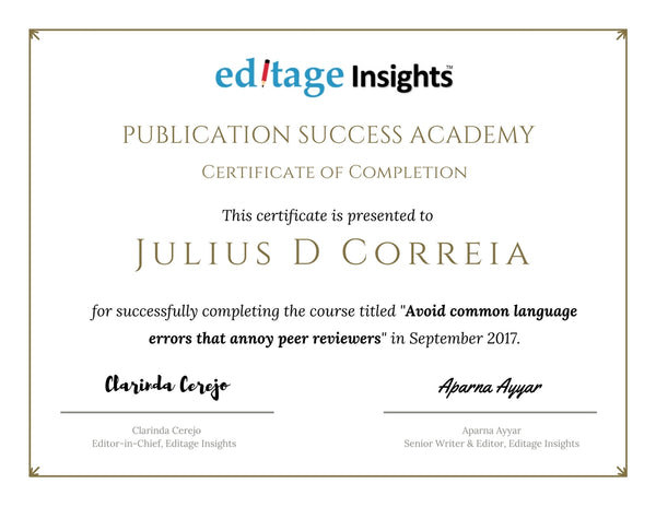 Editage Insights Publication Success Academy Certificate