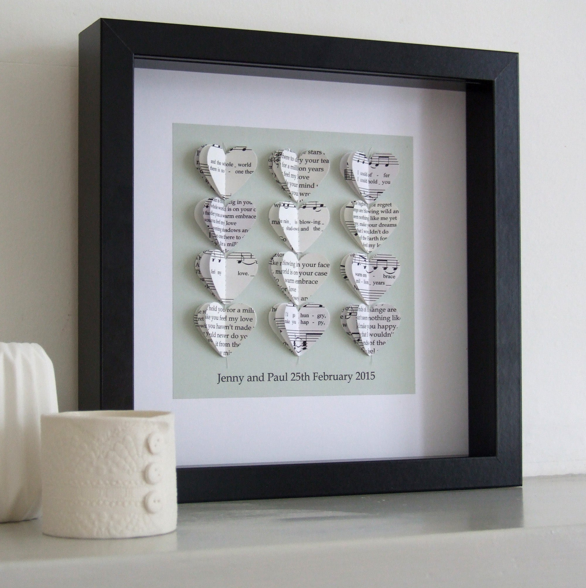 Paper Wedding Anniversary Gift - Your Special Song Framed Picture - Made In Words