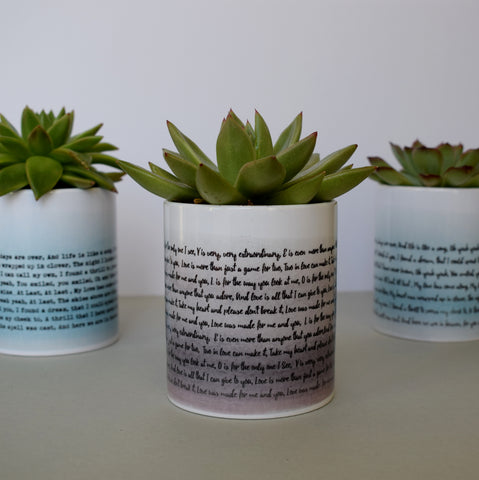Your Favourite Song Or Poem Personalised Pot - Personalised music anniversary gift - Made In Words