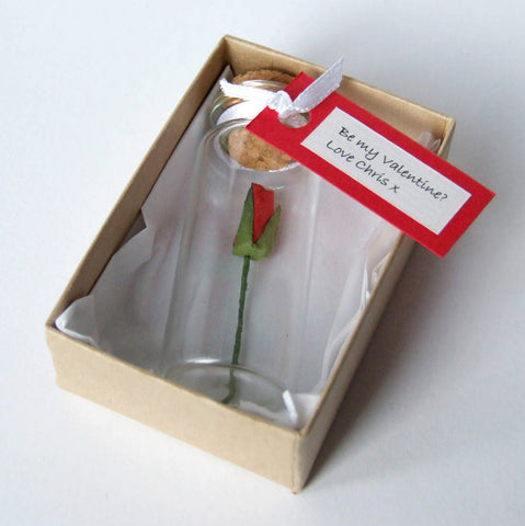 Tiny Single Rosebud In A Bottle With Personalised Message
