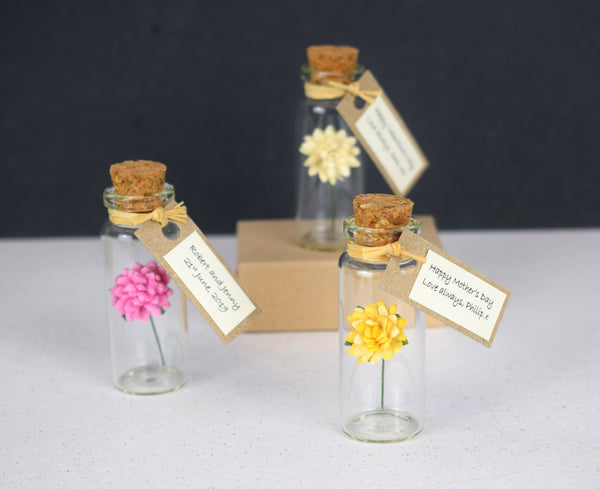Tiny Personalised Chrysanthemum Flower In A Bottle