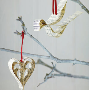 Handmade Sheet Music Christmas Decorations - Handmade Sheet Music Christmas Decorations - Made In Words