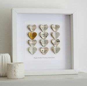Golden Wedding Anniversary Gifts - Gold Heart Personalised Framed Picture - Made In Words