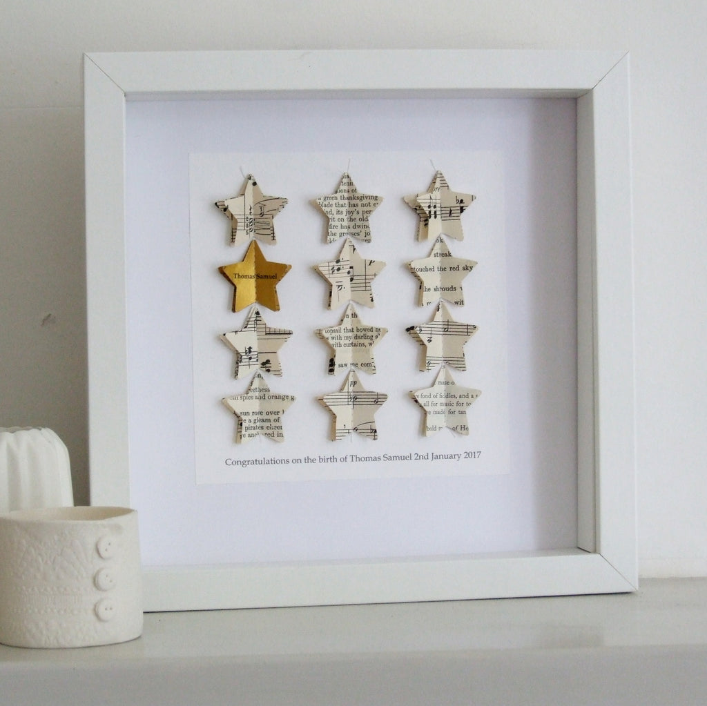 Graduation Gift Christening Gift Gold Star Personalised Picture