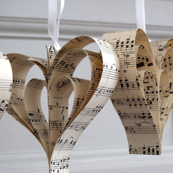 Paper Heart Wedding Decoration  - Handmade Sheet Music Heart Decorations - Made In Words