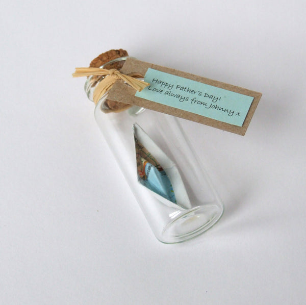 Father's Day Gift - Tiny Personalised Paper Ship In A Bottle - Made In Words