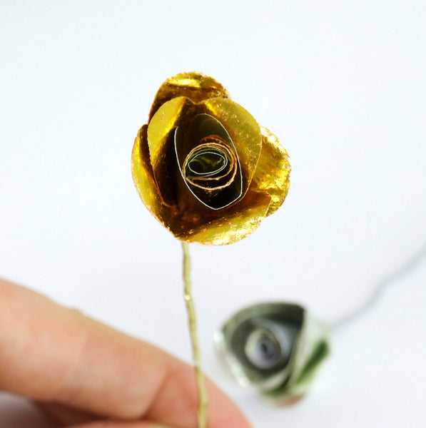 Golden Wedding Anniversary Gift - Gold Paper Rose In A Glass Vial - Made In Words