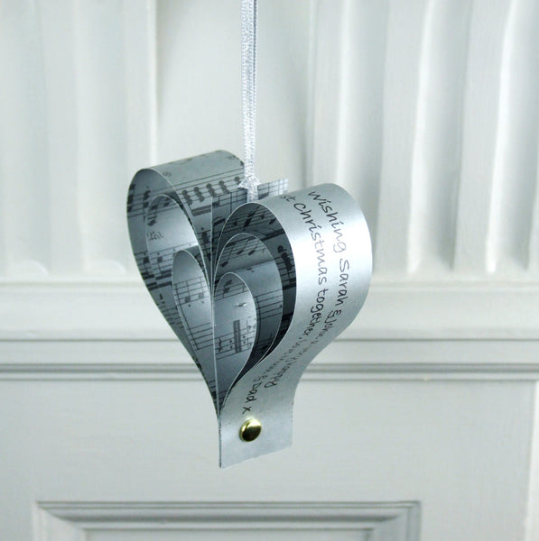 Silver Wedding Anniversary Gift - Personalised Silver Sheet Music Heart Decoration - Made In Words