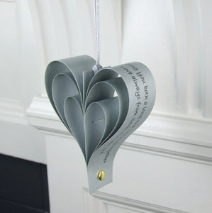 Silver Wedding Anniversary Gift - Silver Paper Personalised Heart Decoration - Made In Words