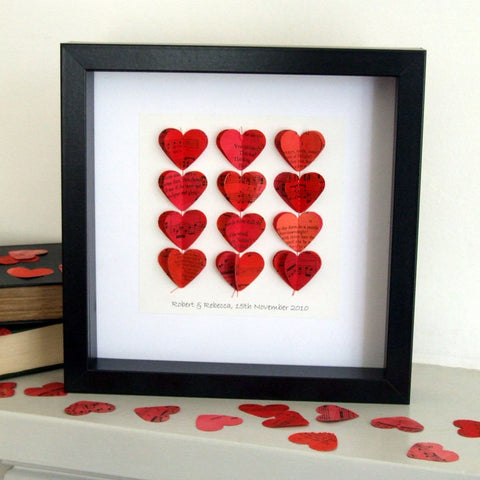 Paper Wedding Anniversary Gift - Red Paper Heart Strings Framed Picture - Made In Words