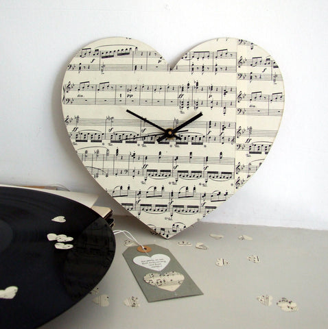 Personalised Wedding Anniversary Gift - Vintage Music Personalised Heart Clock - Made In Words