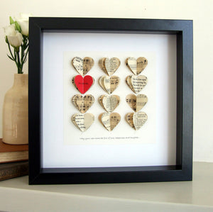 Paper Wedding Anniversary Gift - Love Heart Personalised Framed Picture - Made In Words