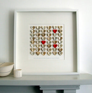 Paper Wedding Anniversary Gift - Love Heart Personalised Large Framed Picture - Made In Words