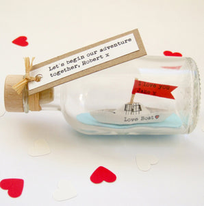 Paper Wedding Anniversary Gift - Personalised Paper Love Boat In A Bottle - Made In Words