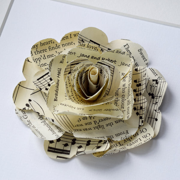 Paper Wedding Anniversary Gift - Poetry And Music Personalised Framed Paper Rose - Made In Words