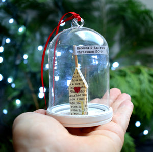 Personalised House Glass Dome Christmas Decoration