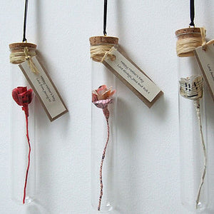 Personalised Valentine's Gift - Handmade Personalised Paper Rose In A Glass Vial - Made In Words