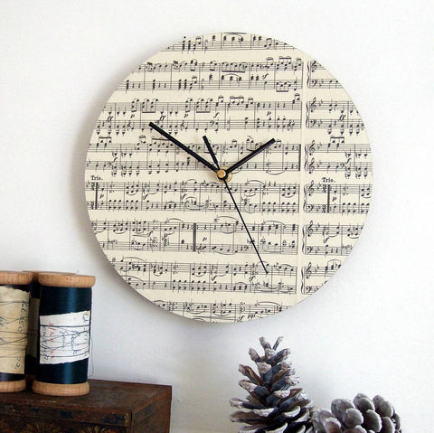 Wedding Gift for Music Lover - Personalised Sheet Music Clock - Made In Words