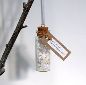 Tiny Bottle Of Snow Personalised Hanging Decoration - personalised christmas decoration - Made In Words
