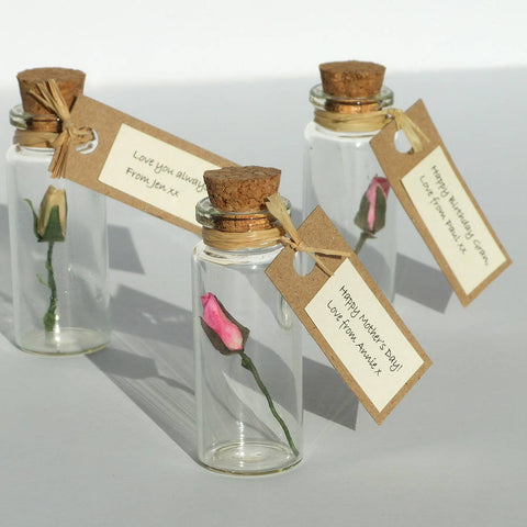 Valentine's Day Gift - Tiny Personalised Paper Rosebud In A Bottle - Made In Words