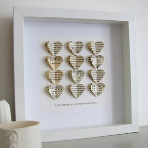 Paper Wedding Anniversary Gift - Special Song Personalised Artwork In Vintage Papers - Made In Words