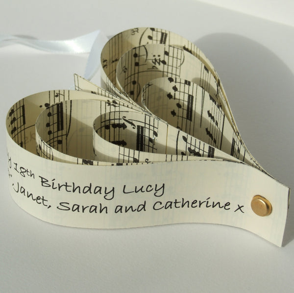 Wedding Anniversary Card - Personalised Paper Sheet Music Heart Decoration - Made In Words
