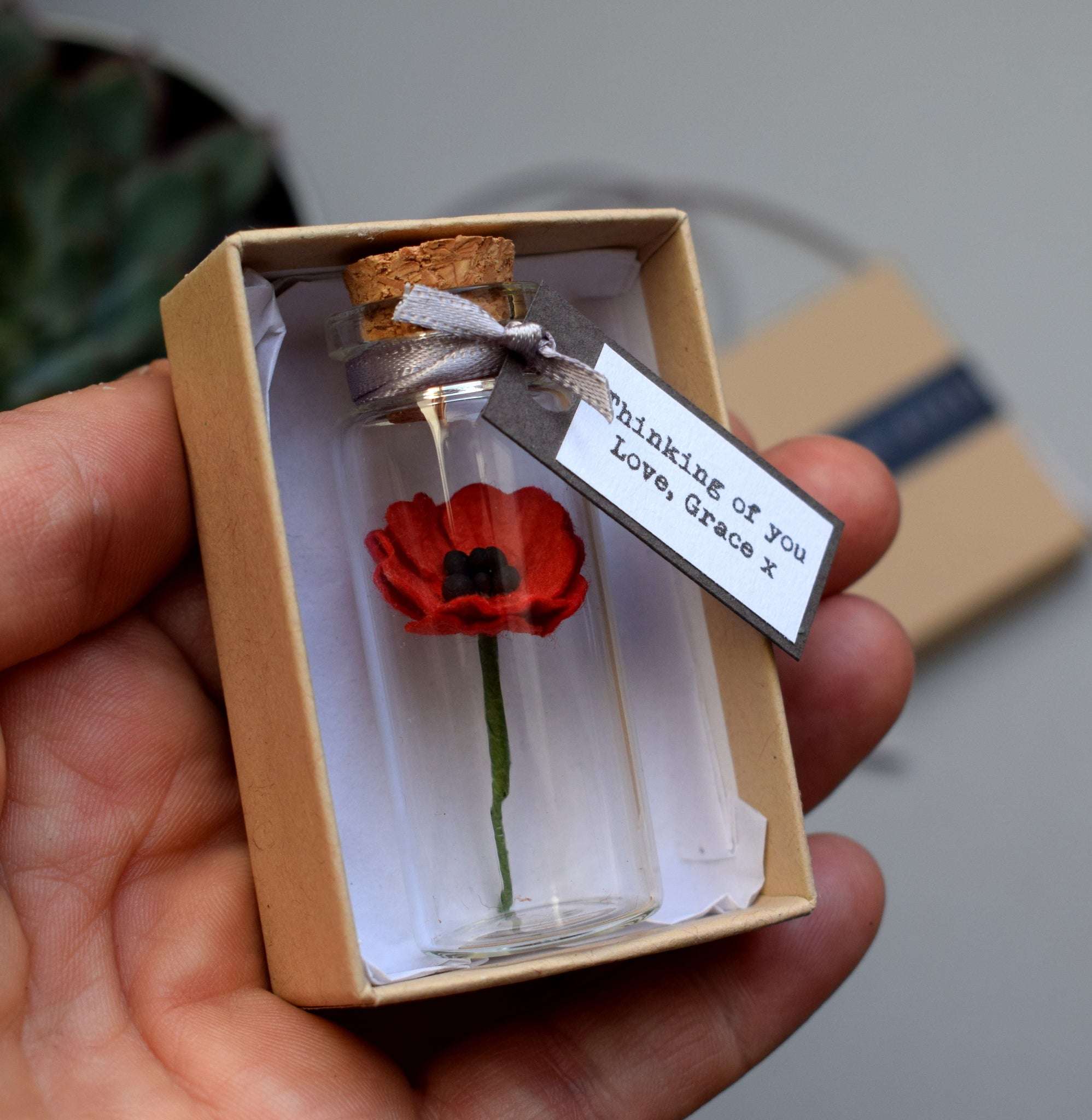 Tiny Paper Poppy In A Bottle With Personalised Message