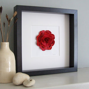 Personalised Red Paper Rose Framed Picture