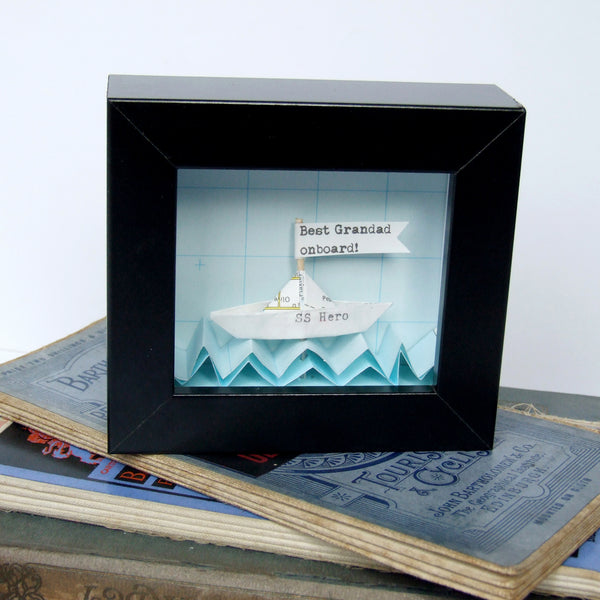 Personalised Father's Day Gift - Little Personalised Paper Boat Artwork - Made In Words