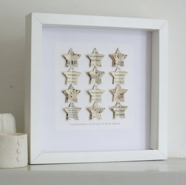 Personalised Christening Gift - Paper Stars Personalised Framed Picture - Made In Words